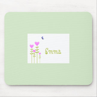 Heart Flowers and Butterfly Mousepad