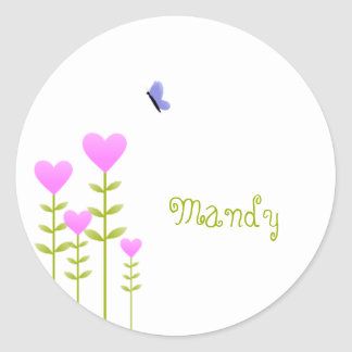 Heart Flowers and Butterfly Round Sticker