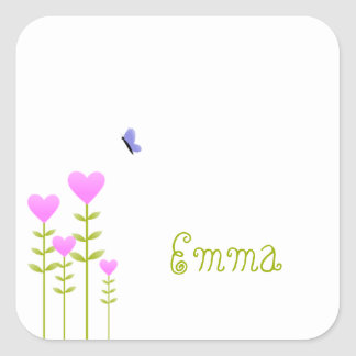Heart Flowers and Butterfly Square Sticker