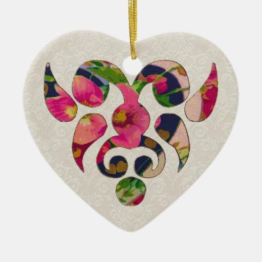 Heart & Flowers Christmas Tree Ornament
