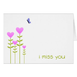 Heart Flowers - I Miss You card