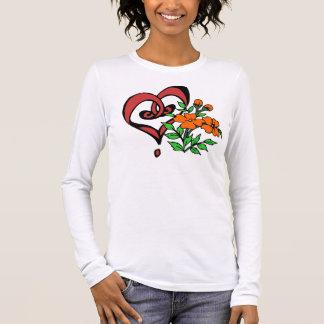 Heart Flowers Long-Sleeved Long Sleeve T-Shirt