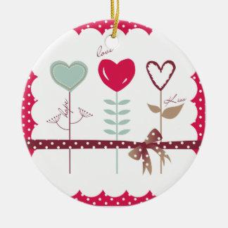 Heart Flowers - Love Hope Kisses Christmas Tree Ornament