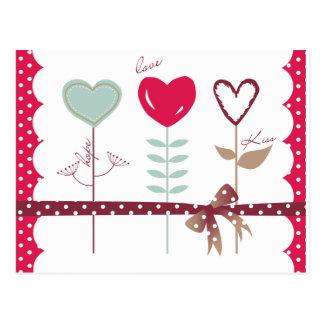 Heart Flowers - Love Hope Kisses Postcard