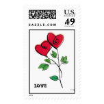 Heart Flowers LOVE Stamp