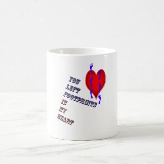 heart footprints classic white coffee mug