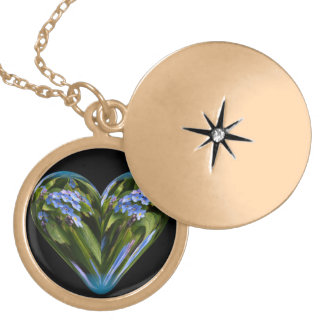 heart forget-me-not locket necklace