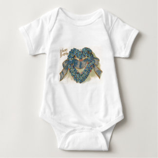 Heart Forget Me Not Ribbon Floral Baby Bodysuit