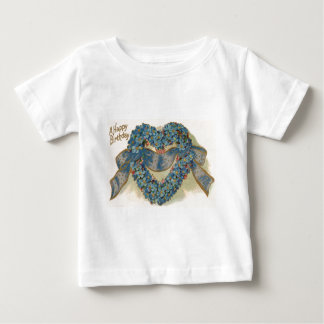 Heart Forget Me Not Ribbon Floral Baby T-Shirt