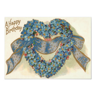 Heart Forget Me Not Ribbon Floral Card