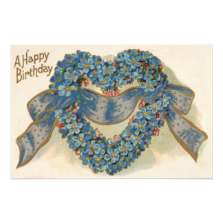 Heart Forget Me Not Ribbon Floral Photo Print