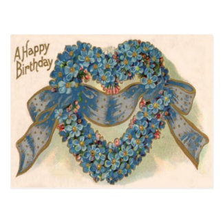 Heart Forget Me Not Ribbon Floral Postcard
