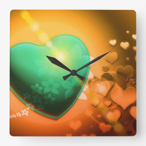 Heart Fractal Romantic Playful Love Orange Teal Wall Clocks