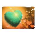 Heart Fractal Romantic Playful Love Orange Teal iPad Mini Cases