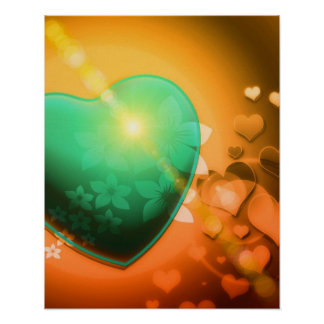 Heart Fractal Romantic Playful Love Orange Teal Posters