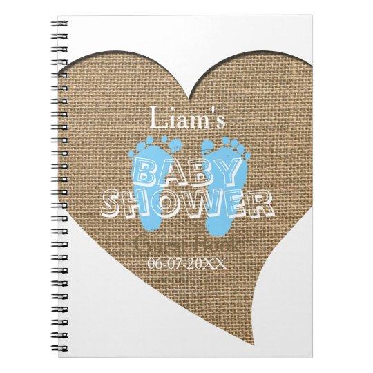 Heart Frame Burlap Boy Baby Shower Guest Book Zazzlecom
