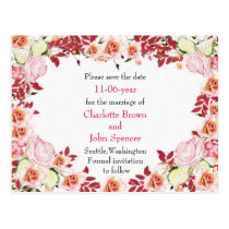 Heart Frame Coral Pink Roses Wedding Postcard