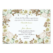 Heart Frame Greenery Roses Wedding Card