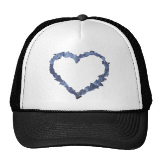 Heart frame made of denim jeans pieces. mesh hat
