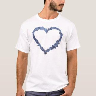 Heart frame made of denim jeans pieces. T-Shirt