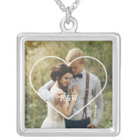 Heart Frame Monogrammed Photo Silver Plated Necklace