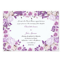 Heart Frame Purple Lavender Roses Wedding Card