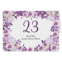 Heart Frame Purple Lavender Roses Wedding Card