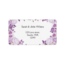 Heart Frame Purple Lavender Roses Wedding Label