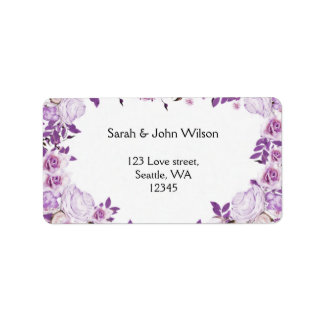 Heart Frame Purple Lavender Roses Wedding Label