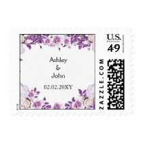 Heart Frame Purple Lavender Roses Wedding Postage