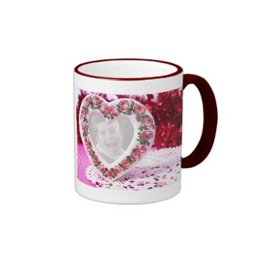Heart Frame Template Ringer Mug