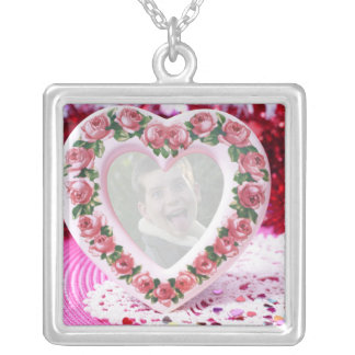 Heart Frame Template Square Pendant Necklace