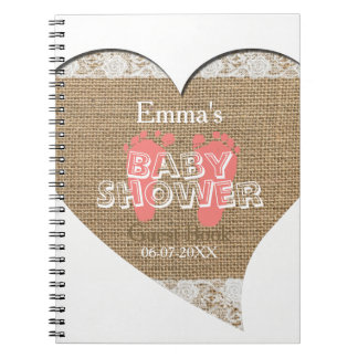 Heart Frame Vintage Lace - Baby Shower Guest Book Spiral Note Books