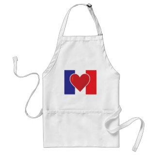 Heart France Flag Adult Apron