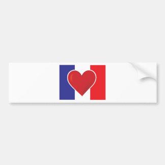 Heart France Flag Bumper Sticker
