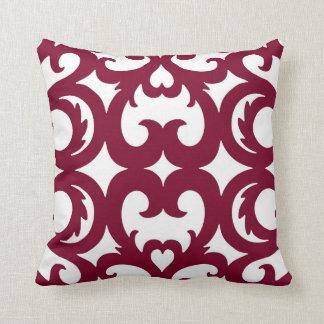 Heart Fretwork Scroll Pattern Cranberry Red Throw Pillow