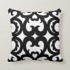 Heart Fretwork Scroll Pattern in Black and White Throw Pillow
