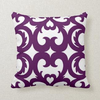 Heart Fretwork Scroll Pattern in Plum Throw Pillows