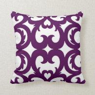 Heart Fretwork Scroll Pattern in Plum Pillows
