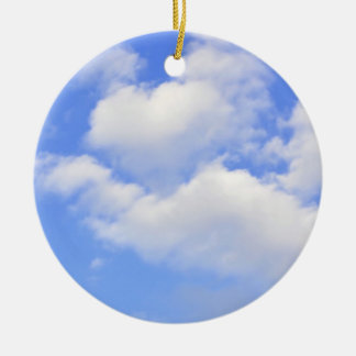 Heart from clouds Ornament Round Ceramic Ornament