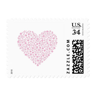 Heart from flowers postage