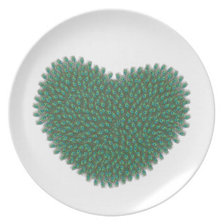 Heart from peacock feathers melamine plate