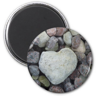 Heart from stone 2 inch round magnet