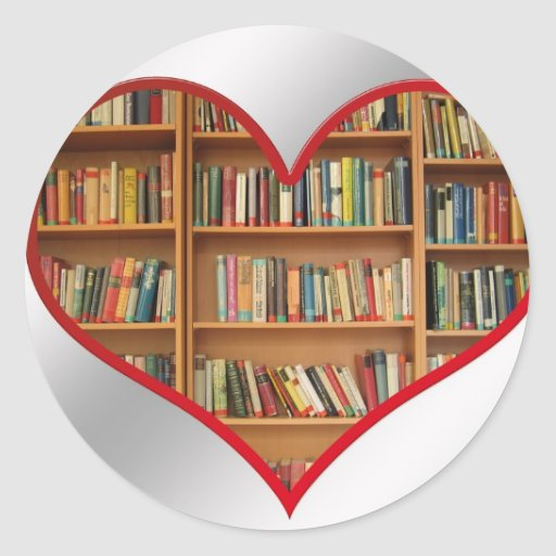 Heart Full of Books Classic Round Sticker