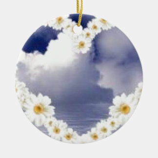 Heart Full Of Daisies Ceramic Ornament