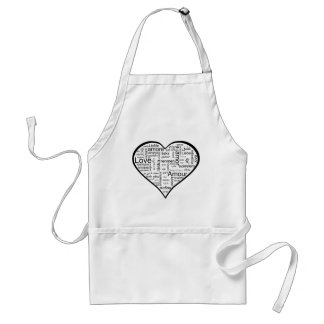 Heart full of Love in Different Languages Adult Apron