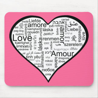 Heart full of Love in Different Languages Mouse Pad