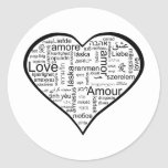 Heart full of Love in Different Languages Classic Round Sticker