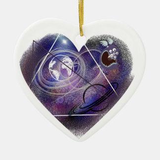 heart galaxy ceramic ornament