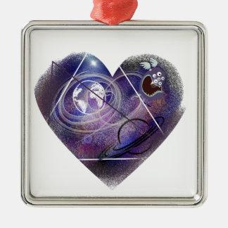 heart galaxy metal ornament